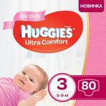 Подгузник Huggies Ultra Comfort 3 Mega для девочек (5-9 кг) 80 шт Фото