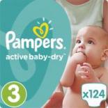 Подгузник Pampers Active Baby-Dry Midi Размер 3 (5-9 кг) 124 шт Фото