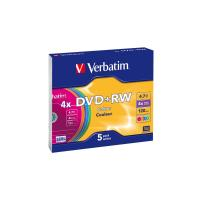 Диск DVD Verbatim 4.7Gb 4x SlimCase 5шт Color Фото