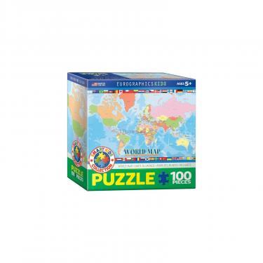 Пазл Eurographics Карта Мира для детей 100 элементов Фото