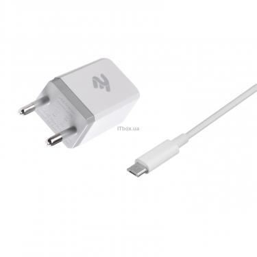 Зарядное устройство 2E USB Wall Charger USB:DC5V/2.1A +кабель MicroUSB 2.4A, white (2E-WC1USB2.1A-CM) - фото 2
