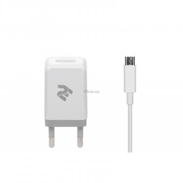 Зарядное устройство 2E USB Wall Charger USB:DC5V/2.1A +кабель MicroUSB 2.4A, white (2E-WC1USB2.1A-CM) - фото 1