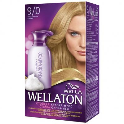 Краска-мусс для волос Wellaton стойкая 9/0 Очень светлый блондин (4056800998272)
