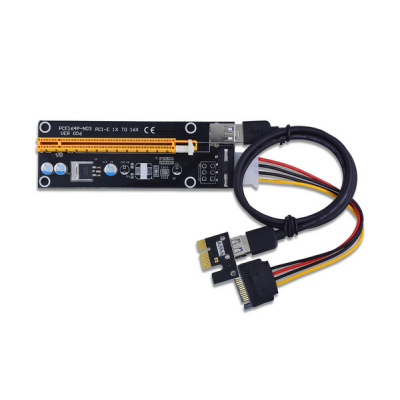 Райзер Dynamode PCI-E x1 to 16x 60cm USB 3.0 Cable SATA to 4Pin IDE Molex Po (RX-riser-006)