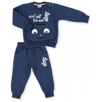 Набор детской одежды Breeze с котиком на кармане (9701-80B-blue)
